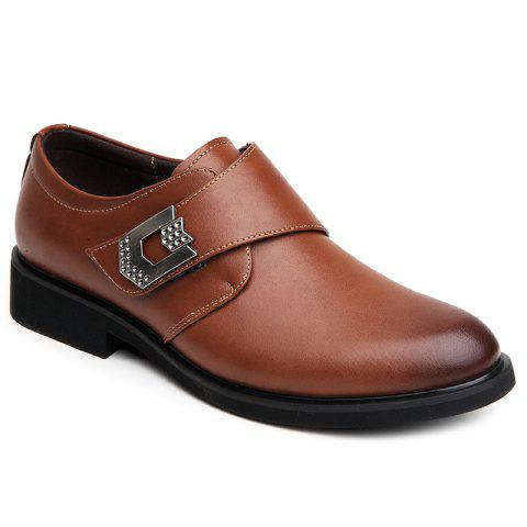 Metal Embellishment Faux Leather Formal Shoes - BROWN 41