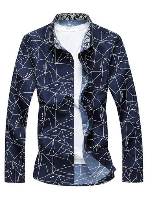 Geometrical Print Long Sleeve Shirt - PURPLISH BLUE L