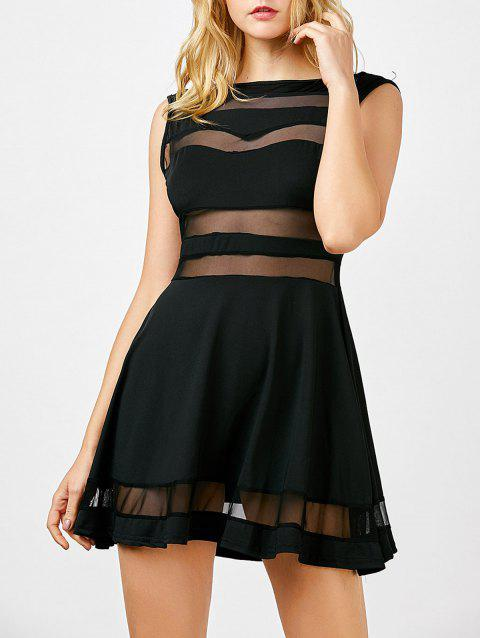 Boat Neck Sheer Mesh Panel Mini Dress - BLACK M