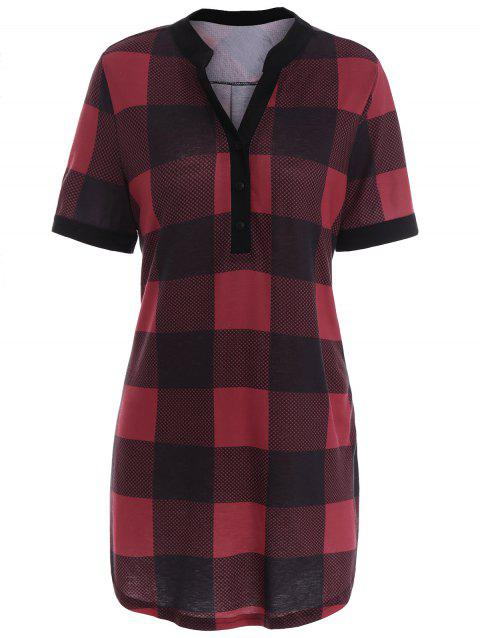 Plaid Plus Size Tunic Top - RED 5XL