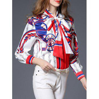 Bow Tie Collar Satin Printed Blouse