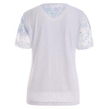 Print Lace Plus Size Top - COLORMIX XL