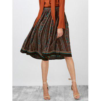 Geometric Print Pleated High Rise Skirt