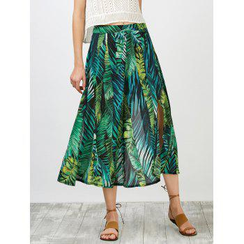 Leaf Print Slit High Waisted Skirt