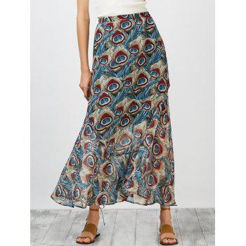 Ornate Print Chiffon High Rise Skirt