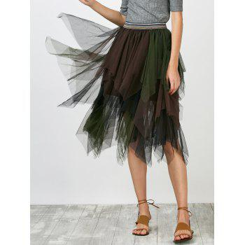 Mesh Layer Asymmetrical Skirt