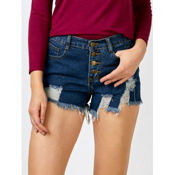 Frayed Button Up High Rise Shorts