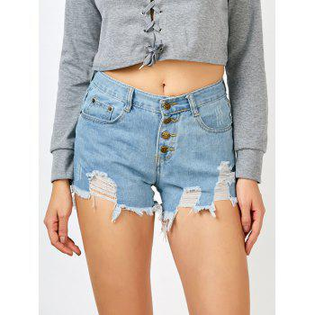 Buy Frayed Button High Rise Shorts LIGHT BLUE