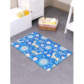 Flower Deer Velboa Fabric Antislip Bath Rug