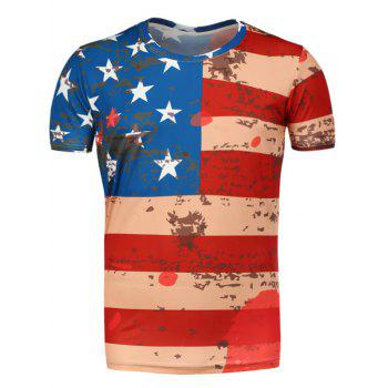 Short Sleeve Distressed American Flag Tee - RED S