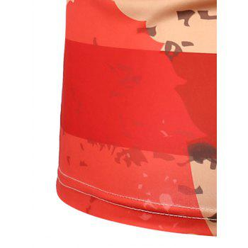 Short Sleeve Distressed American Flag Tee - RED 2XL