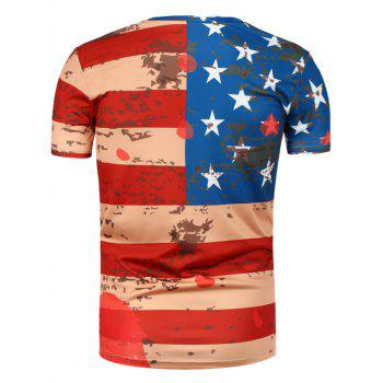 Short Sleeve Distressed American Flag Tee - 2XL 2XL