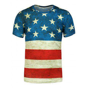 Short Sleeves Distressed American Flag Printed Tee