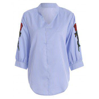 Plus Size Floral Pinstripe Embroidered Shirt