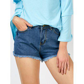 Fringed High Rise Denim Shorts