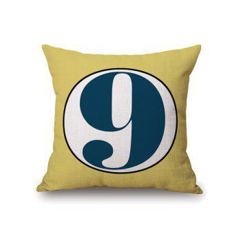 Number Nine Cotton Linen Throw Pillowcase