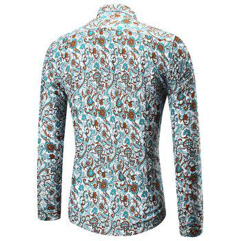 Button Up Floral Print Shirt - COLORMIX 2XL