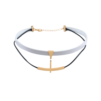 Faux Leather Bar Layered Choker Necklace