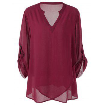 Plus Size Split-Neck Adjustable Sleeve Blouse