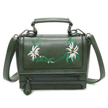 Floral Embroidered Flap Crossbody Bag