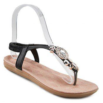 Rhinestones Faux Leather Flat Sandals
