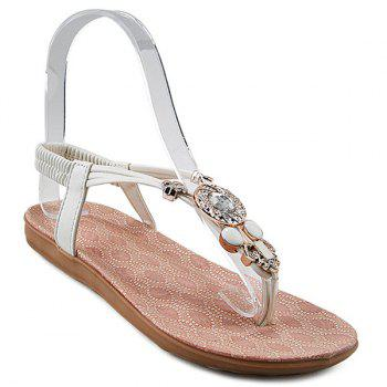 Rhinestones Faux Leather Sandals