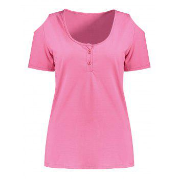 Cold Shoulder Henley T-Shirt