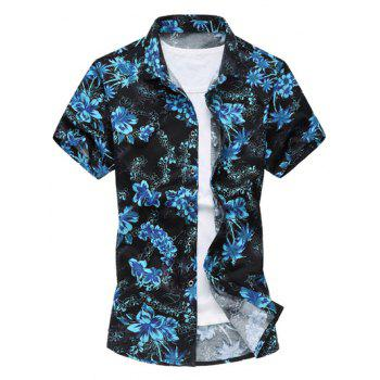 Short Sleeve Flowers Hawaiian Shirt
