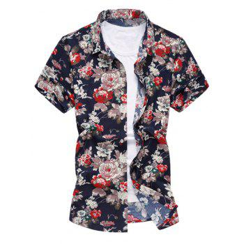 Short Sleeve Flower Print Hawaiian Shirt