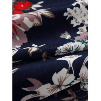 Short Sleeve Flower Print Hawaiian Shirt - FLORAL M