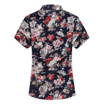 Short Sleeve Flower Print Hawaiian Shirt - FLORAL 3XL