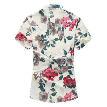 Flower Print Short Sleeve Hawaiian Shirt - RED L