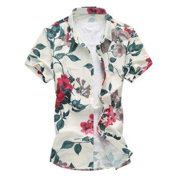 Flower Print Short Sleeve Hawaiian Shirt - RED XL