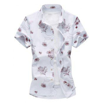 Flower Print Hawaiian Shirt - RED RED