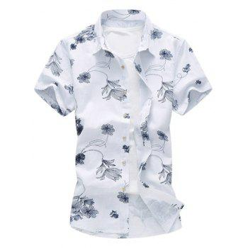 Flower Print Hawaiian Shirt - PURPLISH BLUE XL