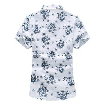 Flower Printed Short Sleeve Hawaiian Shirt - BLACKISH GREEN L