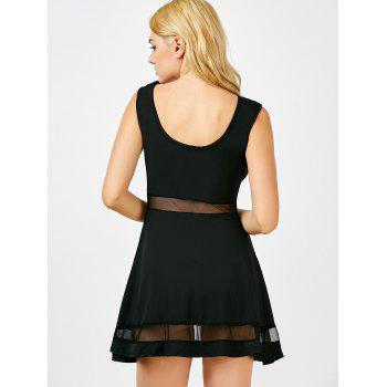 Boat Neck Mesh Sheer Mini-robe Panel - Noir M