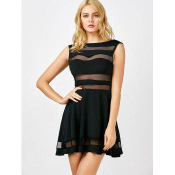 Boat Neck Mesh Sheer Mini-robe Panel - Noir L