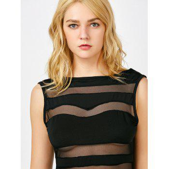 Boat Neck Sheer Mesh Panel Mini Dress - BLACK BLACK