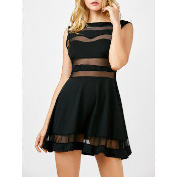 Boat Neck Sheer Mesh Panel Mini Dress