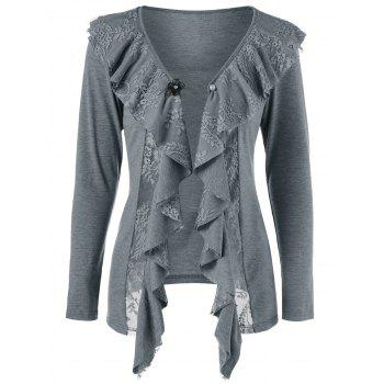 Lace Insert Cardigan with Brooch