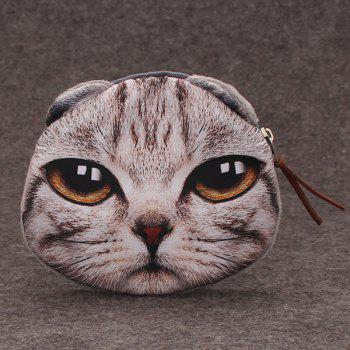 Funny 3D Cat Printed Coin Purse - GRAY GRAY