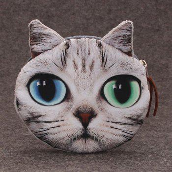Cat 3D Painted  Coin Purse - GREY WHITE GREY WHITE