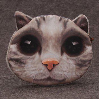 3D Cat Painted Funny Coin Purse - GRAY GRAY