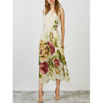 Floral Chiffon Belted Summer Long Dress