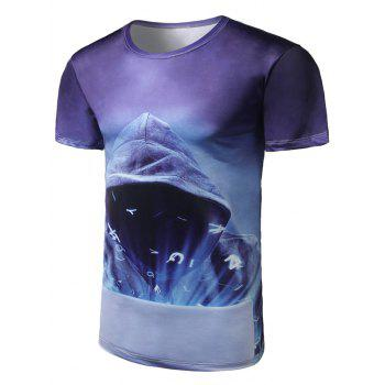 Short Sleeve Mystery Man Print Tee - PURPLE PURPLE