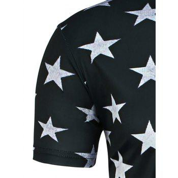 Round Neck Distressed American Flag Printed T-Shirt - BLACK L
