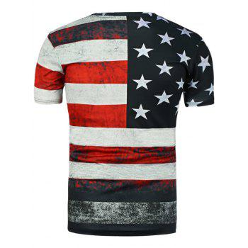 Round Neck Distressed American Flag Printed T-Shirt - BLACK 2XL