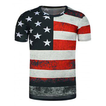 Round Neck Distressed American Flag Printed T-Shirt - BLACK BLACK