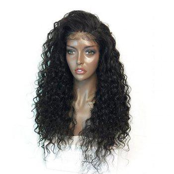 Fluffy Curly Long Lace Front Synthetic Wig - BLACK